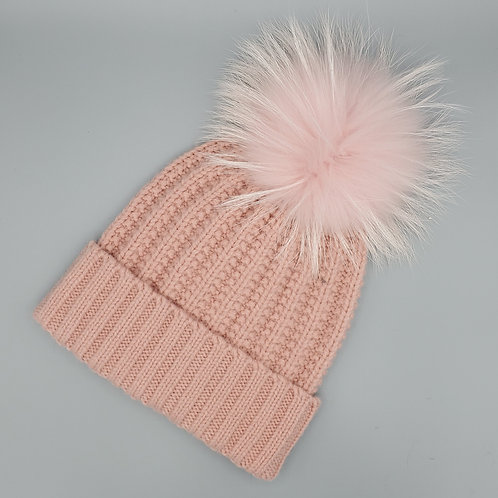 Foldover Angora Hat with Fur Pom