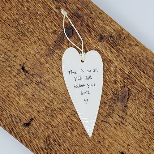 Ceramic Heart Hang Tag - No Set Path