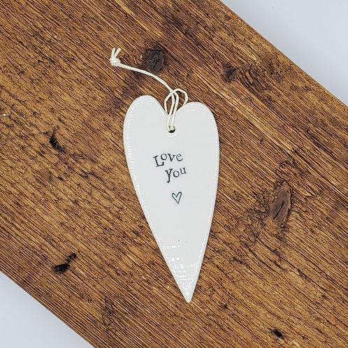 Ceramic Heart Hang Tag - Love You