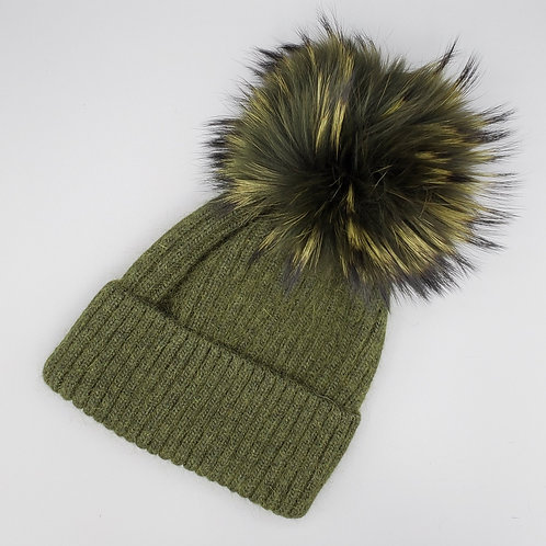 Angora Hat with Fur Pom