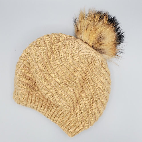 Twirl Slouchy Hat with Fur Pom