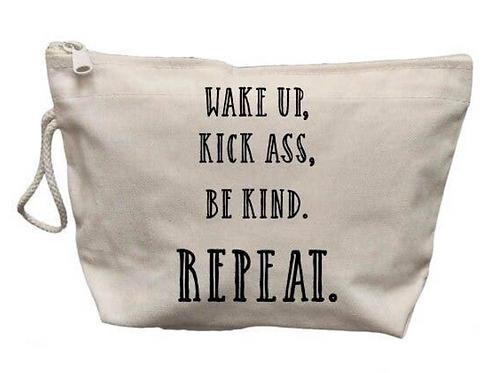 Wake Up Kick Ass Make Up Bag
