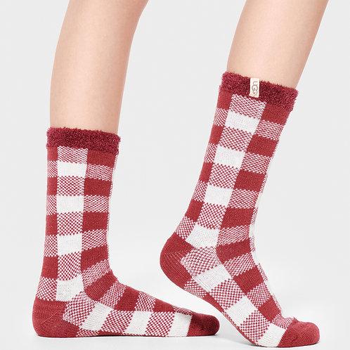 Check Fleece Lined Sock - Red/White