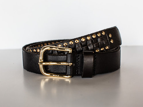 Black Braid Stud Belt