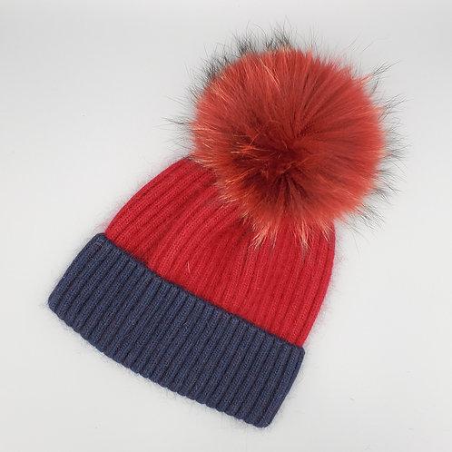 Angora Hat with Fur Pom
