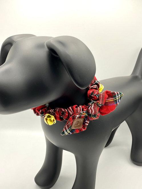 Dog Collar Tartan with Bells - Red