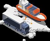 Lastwagen und Schiff mit Containern.