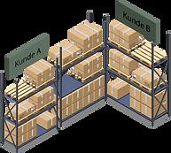 Hochregallager mit Paketen von verschiedenen Lagerkunden.