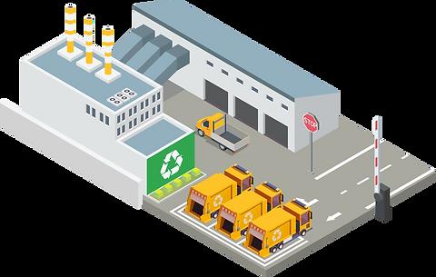 Entsorgungshof mit Recycling mit isometrischen Vektorgrafiken.