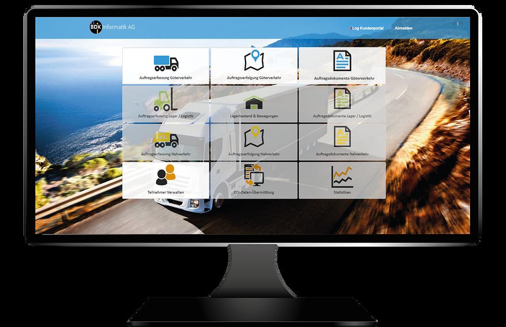 Aufnahme von der Transportsoftware eLog Kundenportal
