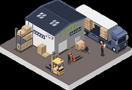 Lager mit Paketen, Stückgut und Lastwagen mit Scanning.