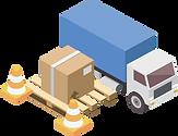 Paket, welches vor einem Lastwagen steht und einen Schaden aufweist, welcher im Transportsystem verwaltet werden kann.