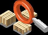 Lupe, mit welcher im Gebindemanagement die Paletten bei Verlader und Empfänger findet.