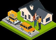 Vektorgrafik mit Hebebühne, Fahrzeug und mobilem Rapportieren.