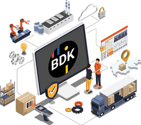 Vektorgrafik eines Computers mit Transportsoftware der BDK, welche mit Produktionsanlagen, Lagersystem und Lastwagen kommuniziert.