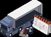 Lastwagen und Mechaniker, welche die Reperatur und den Service der Fahrzeuge planen.