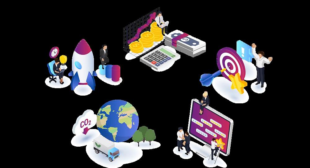 Vorteile digitaler Transportunternehmen und Logistik 4.0 als Infografik.