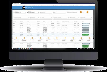 Bildschirmaufnahme der Sendungsverfolgung im Kundenportal für Transportunternehmen.