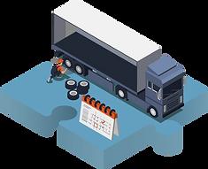 Vektorgrafik mit einem Lastwagen, der in der Servicewartung steht.