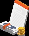 Eine Rechnung sowie Geldscheine und Münzen.
