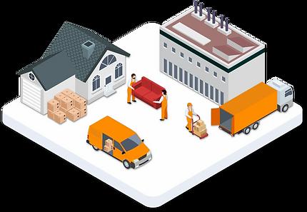 Umzugsunternehmen, welches sowohl private Haushalte als auch Industrieumzüge realisiert.