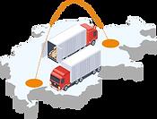 Lastwagen, welche zwischen Filialen fahren auf Schweizer Transportwegen.