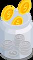 Glas mit Münzen, welches die Kostenreduktion durch Transportsoftware signalisiert.
