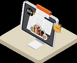 Vektorgrafik vom digitalen Dokumentenmanagementsystem DMS, welches Dokumente digital speichert und archiviert.
