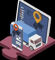 Fahrzeugkommunikation und Fahrzeugortung mit GPS-Daten.