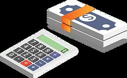 Isometrische Vektorgrafik eines Taschenrechners und eines Bündels mit Banknoten.