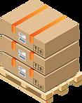 Transportpalett mit Paketen und Etiketten.