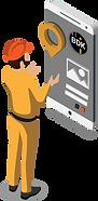 Isometrische Darstellung eines Kanalreinigungsmitarbeiters sowie eines Tablets, welches Details zum Auftrag aufweist.