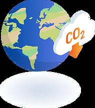 Vektorgrafik der Erdkugel mit einer Wolke, die mit CO2 beschriftet ist.