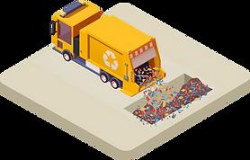 Vektorgrafik eines Entsorgungsfahrzeuges, welches Material im Entsorgungshof deponiert.