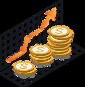 Isometrische Darstellung von mehreren Münzen und einem Pfeil, welcher Wachstum signalisiert.