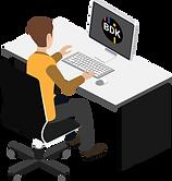 Mann an einem Tisch mit Computerbildschirm, auf welchem Software für Kanalreinigung zu sehen ist.