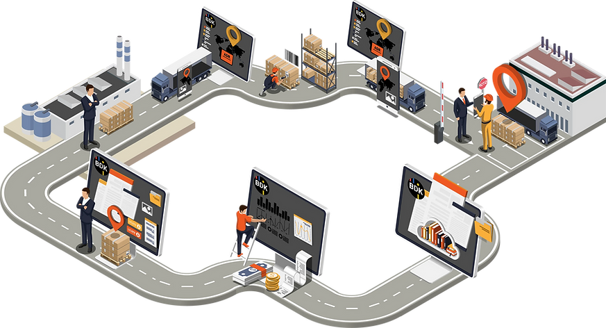 Prozessablauf einer Spedition mit Vorholer, Hauptlauf, Warenumschlag und Kommissionierung von Sendungen.