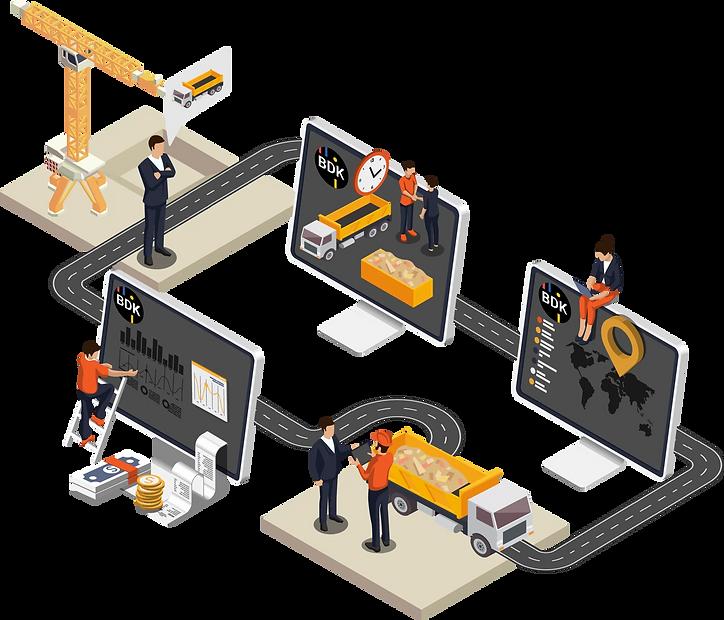 Infografik der digitalen Transportprozesse im Bereich Nahverkehr.
