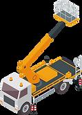 Vektorgrafik eines Lastwagens mit Arbeitsbühne.