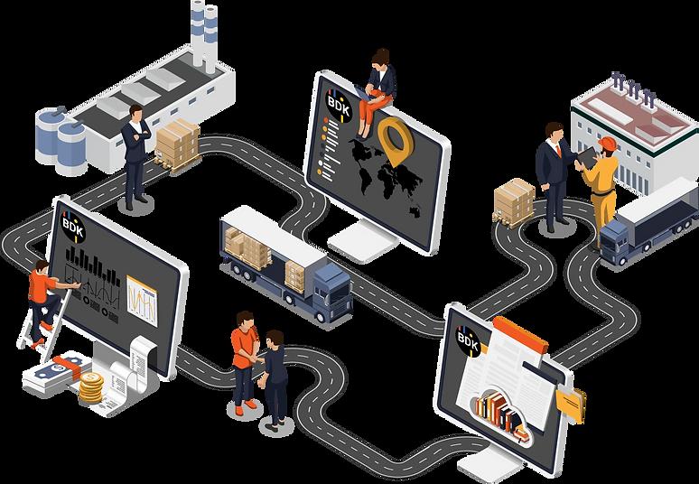 Infografik zu digitalen Transportprozessen wie die digitale Auftragserfassung, Dispositionssoftware und Sendungsverfolgung.