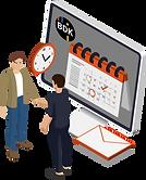 Bildschirm mit BDK Software, welche Folgeaufträge sowie Kundenmanagement symbolisiert.