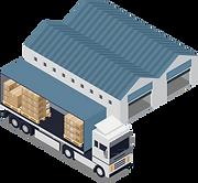 Transportunternehmen mit Lastwagen und Lagerlogistik.
