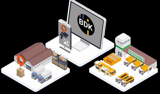 Transport Software für Transportunternehmen und Logistik mit isometrischen Grafiken dargestellt.