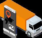 Lastwagen mit Tablet, auf welches Aufträge digital übermittelt werden