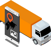 Auftragsübermittlung von der Disposition auf das Smartphone im Lastwagen.