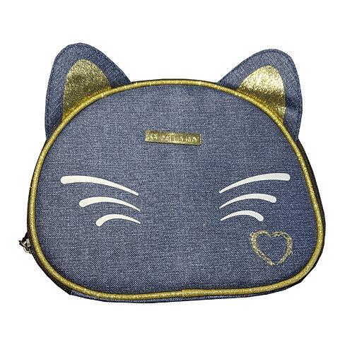 Cat Denim Makeup Bag