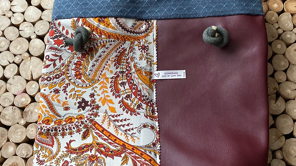 Maroon with blue and paisley