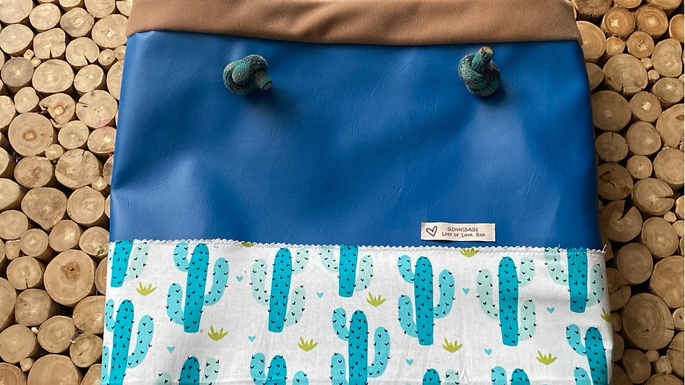Blue with cacti and suede