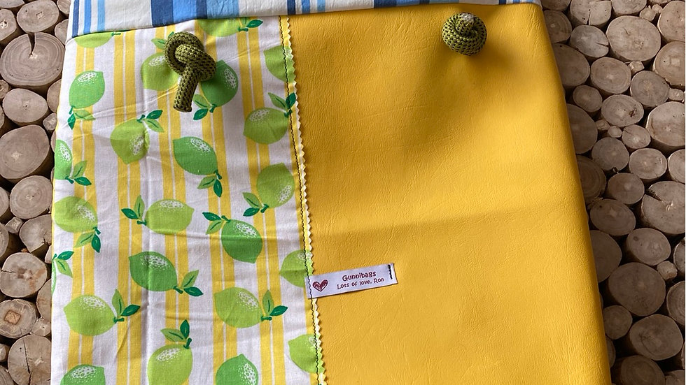 Yellow with limes and blue stripes