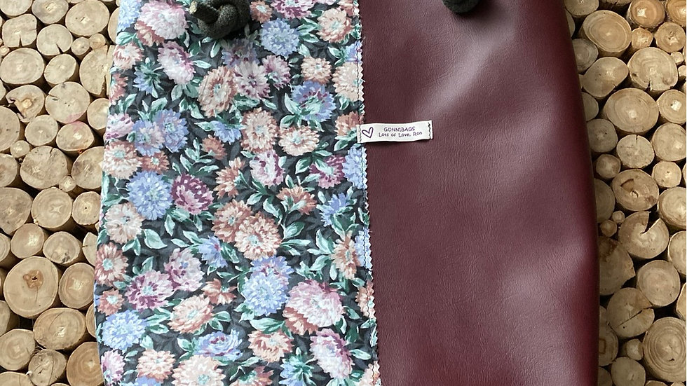 Maroon with floral and green